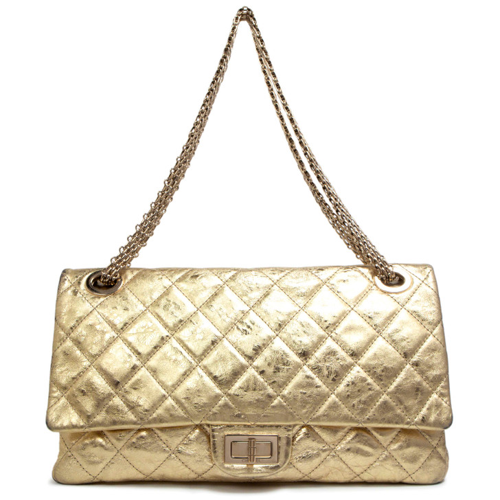 Chanel Gold Metallic Aged Calfskin 2.55 Reissue Double Flap 228