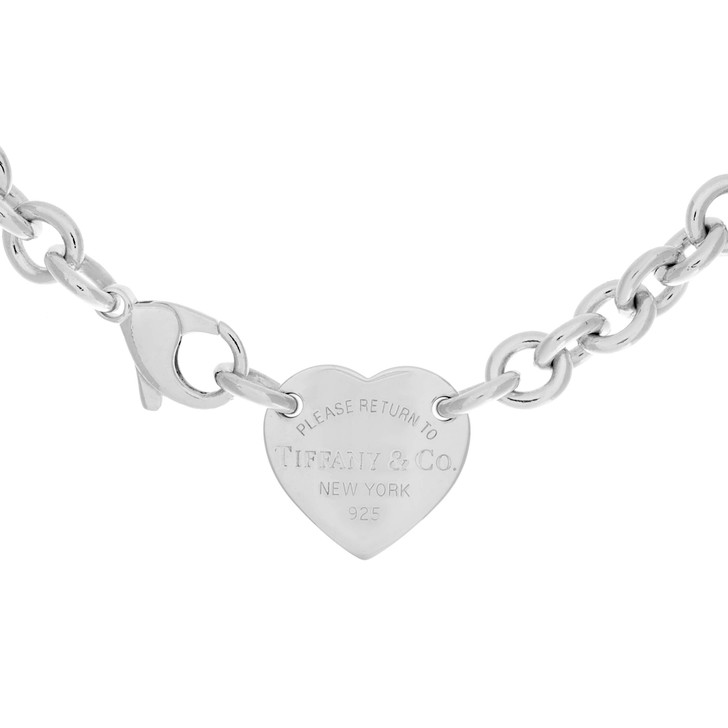 Tiffany & Co. Sterling Silver Heart  Tag  Choker Necklace
