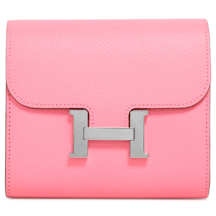 Hermes Rose Confetti Epsom Constance Compact Wallet