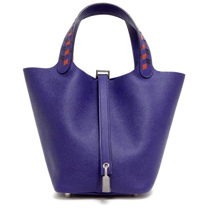 Hermes Bleu Indigo Epsom Tressage De Cuir Picotin Lock 18