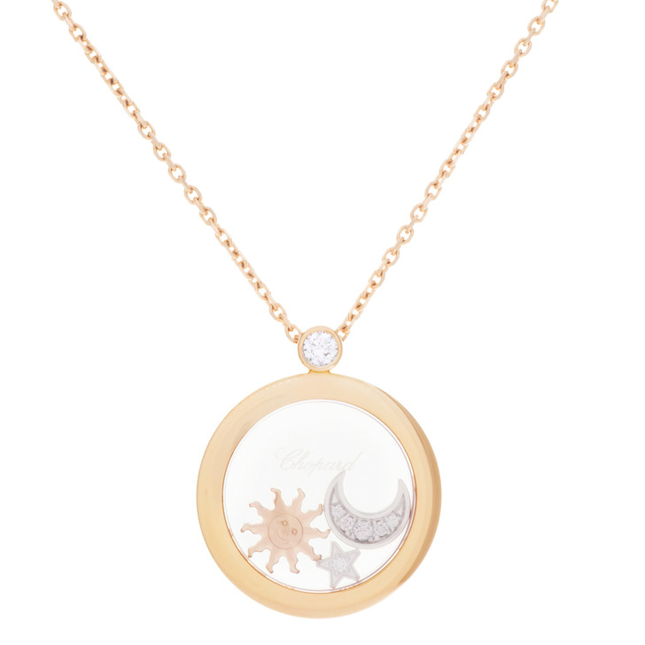 Chopard 18K Rose Gold Happy Diamond Sun, Moon & Star Pendant
