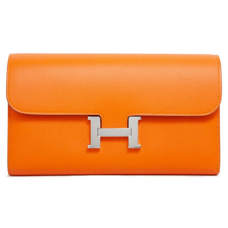 Hermes Orange Evercolor Constance Long Wallet