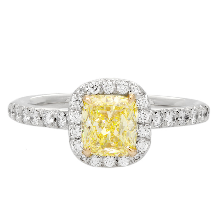 Tiffany & Co. Platinum & Fancy Yellow Diamond Soleste Ring