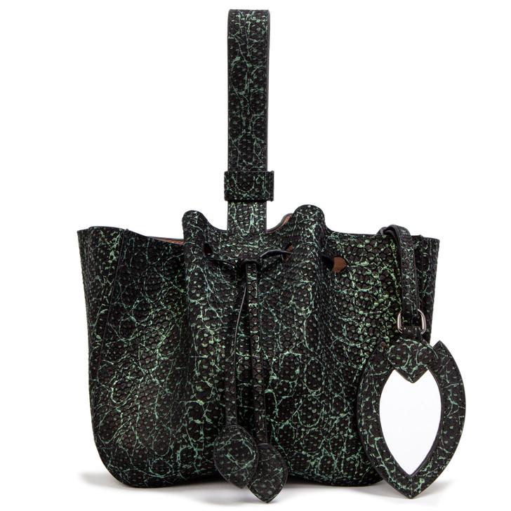 Alaia Black/Green Python Embossed Wristlet Bucket Bag