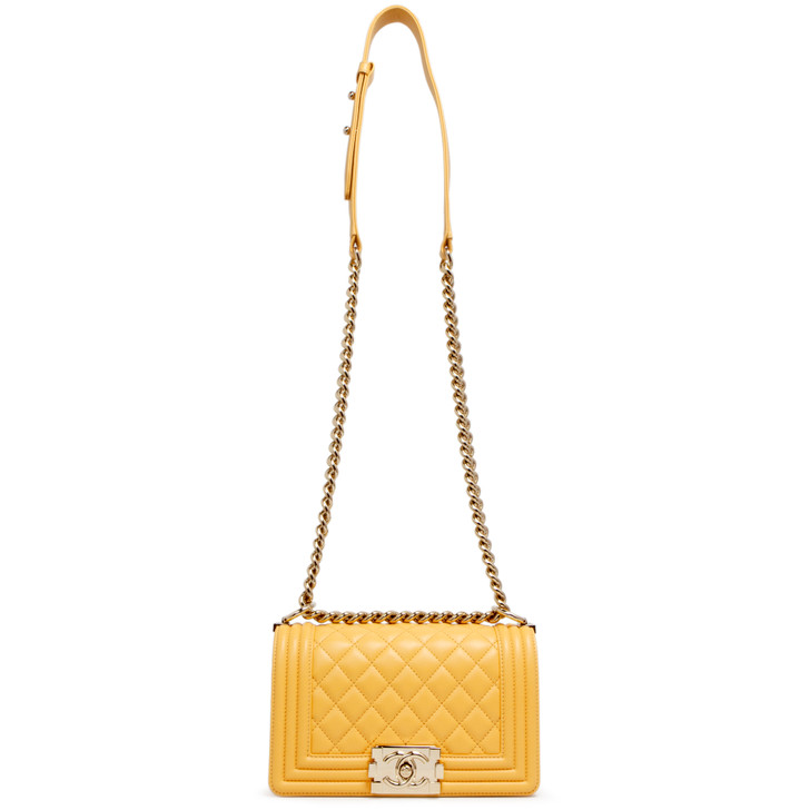 Chanel Yellow Quilted Calfskin Small Boy Bag