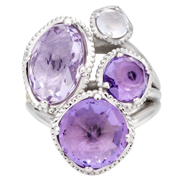 Tacori Sterling Silver & 18K Lilac Blossoms Amethyst & Chalcedony  Cluster Ring