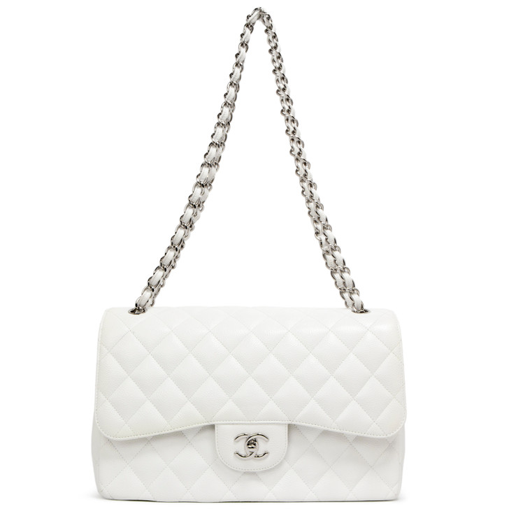 Chanel White Quilted Caviar Jumbo Classic Double Flap