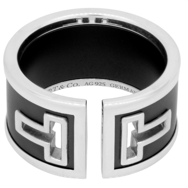 Tiffany & Co. Sterling Silver & Black Ceramic T Cutout Ring
