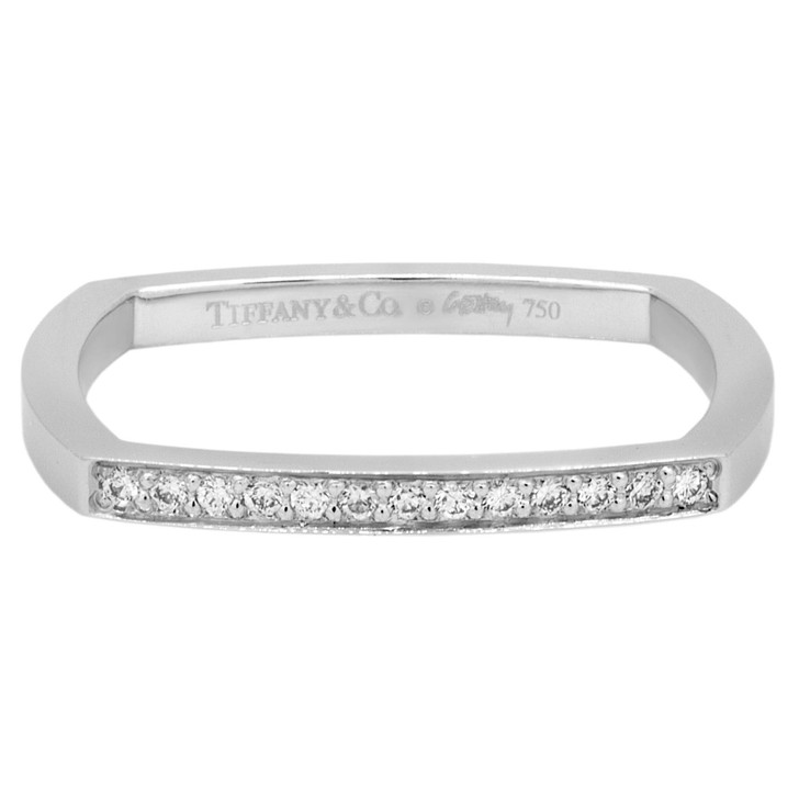Tiffany & Co. 18K White Gold & Diamond Frank Gehry Torque Micro Ring