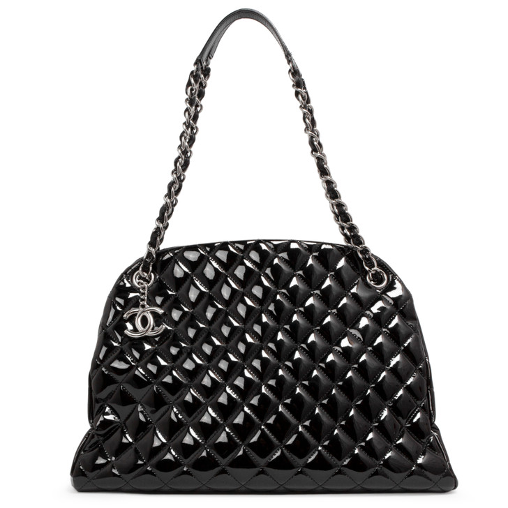 Chanel Black Quilted Patent Large Just Mademoiselle Bowling Bag