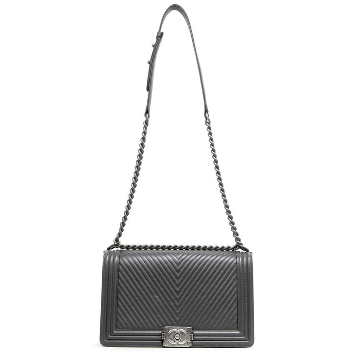Chanel Grey Chevron Calfskin New Medium Boy Bag