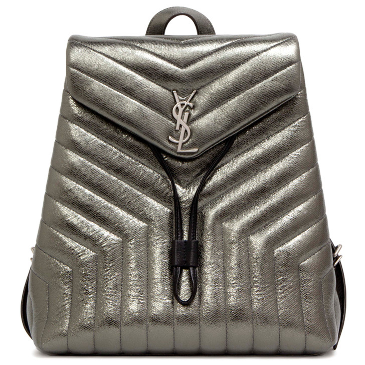 Saint Laurent Metallic Calfskin Matelasse Medium Loulou Monogram Backpack
