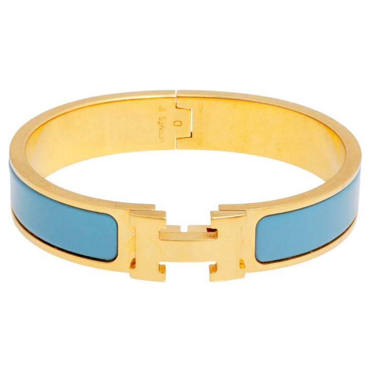 Hermes Light Blue Enamel Narrow Clic Clac Bracelet