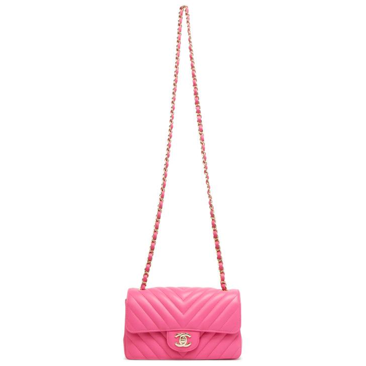 Chanel Pink Chevron Quilted Lambskin Mini Rectangular Flap