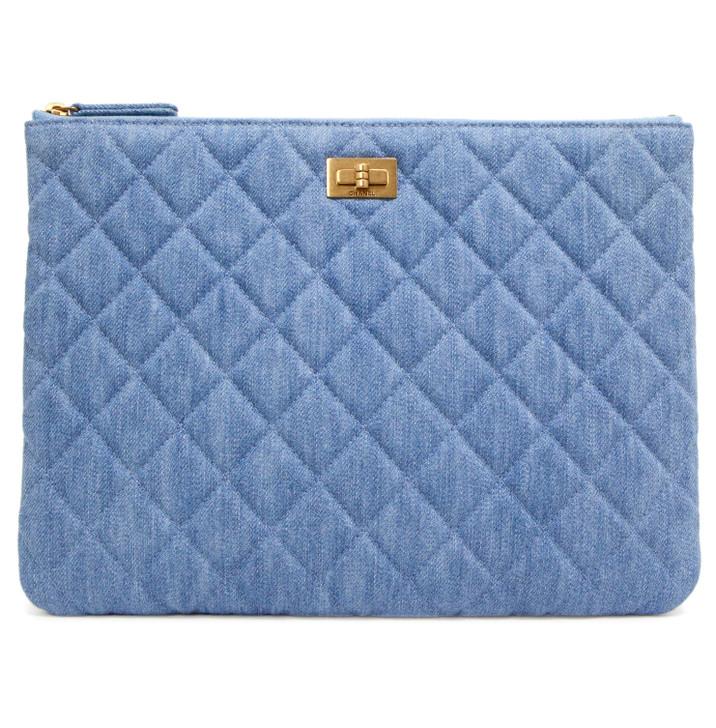 Chanel Denim Quilted Medium Cosmetic Case