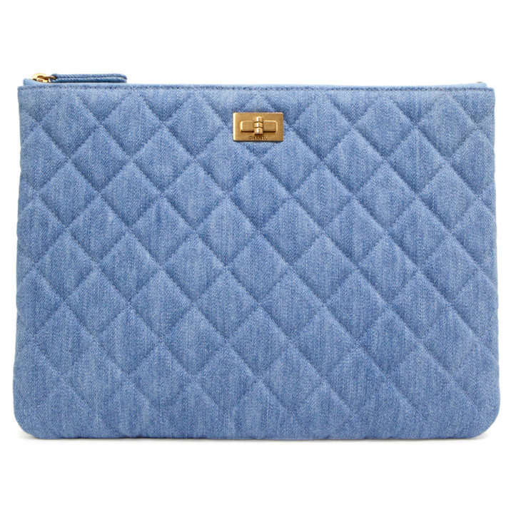 Chanel Denim Quilted Medium Cosmetic Case