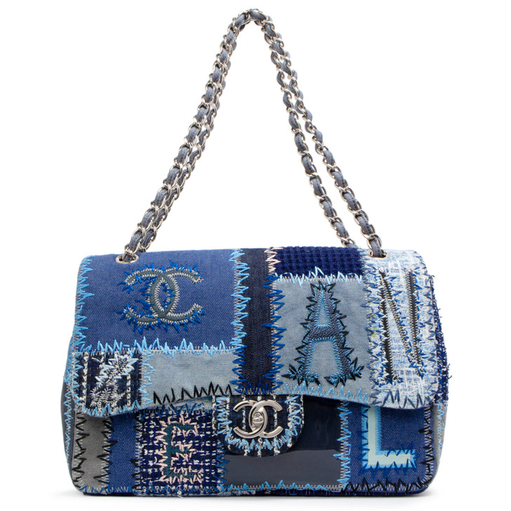 Chanel Blue Denim Tweed Patchwork Jumbo Single Flap