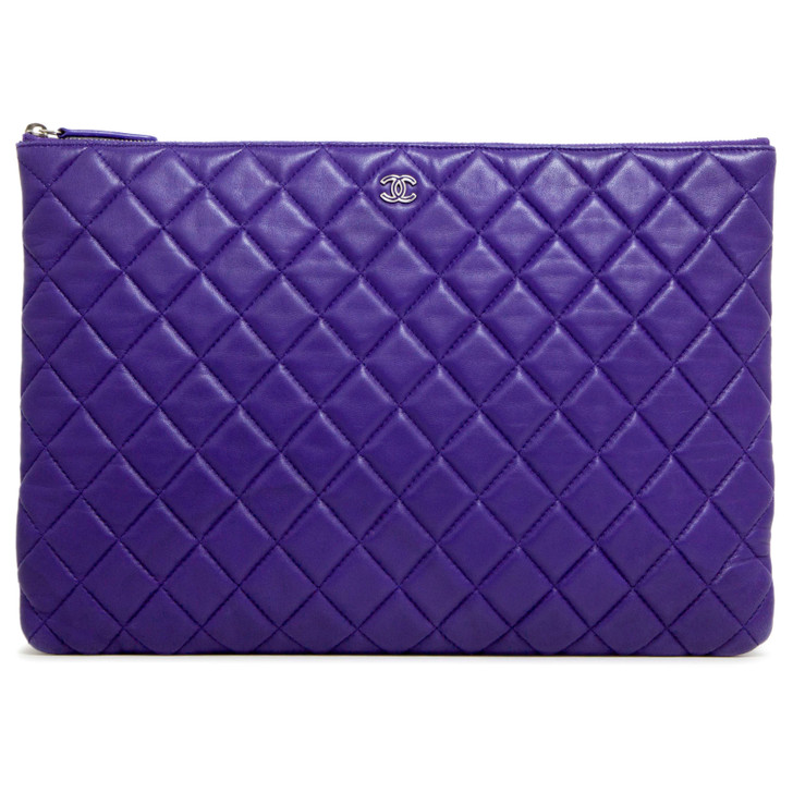 Chanel Blue Quilted Lambskin Large Cosmetic Case