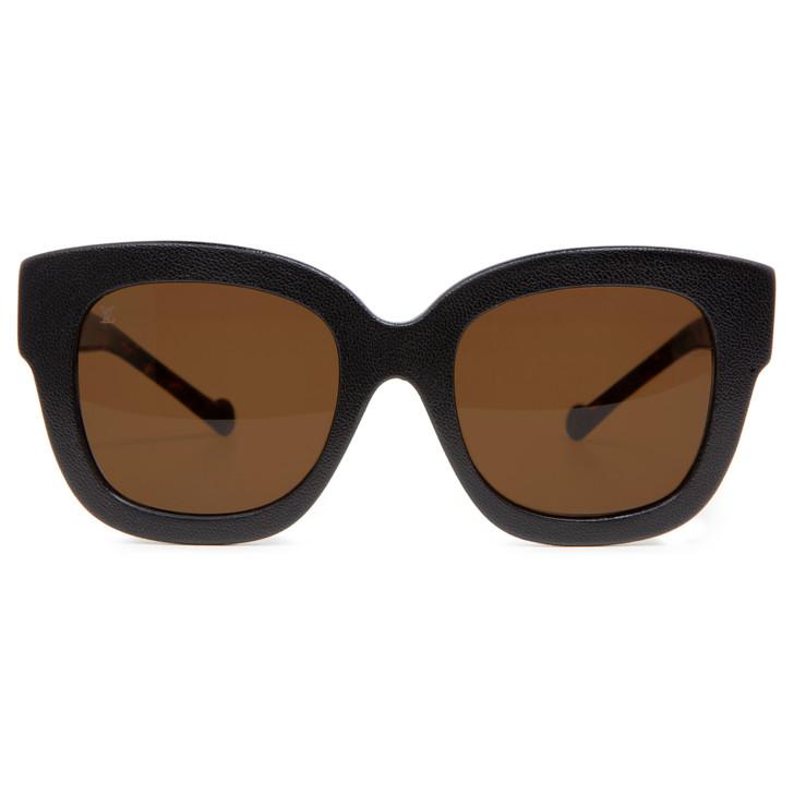 Louis Vuitton Tortoise & Black Leather Audrey Sunglasses