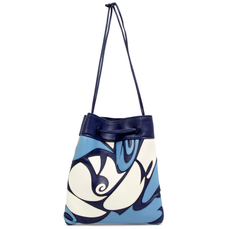 Miu Miu Blue Calfskin Appliqued Shoulder Bag