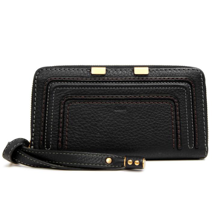 Chloe Black Calfskin Marcie Zip Around Wallet
