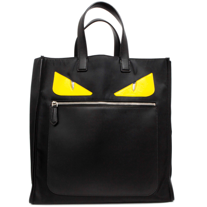 Fendi Black Nylon Monster Tote