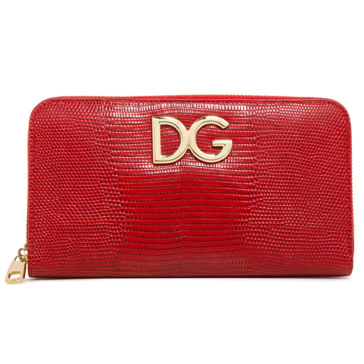 Dolce & Gabbana Red Lizard Embossed Calfskin Dauphine Zip Around Wallet