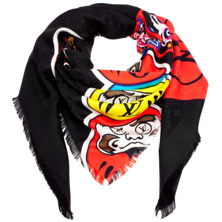 Louis Vuitton Silk/Wool Monogram Kabuki Stickers Shawl