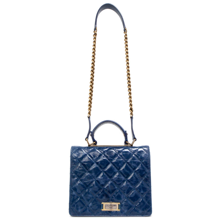 Chanel Blue Glazed Calfskin Quilted Rita Top Handle Flap