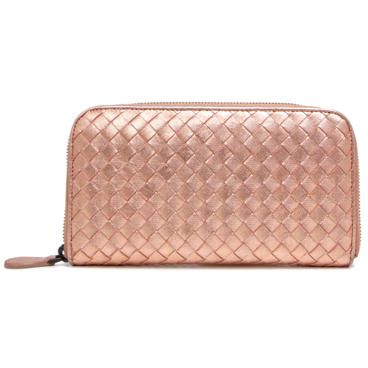 Bottega Veneta Rose Gold Metallic Grosgrain Intrecciato Zip Around Wallet