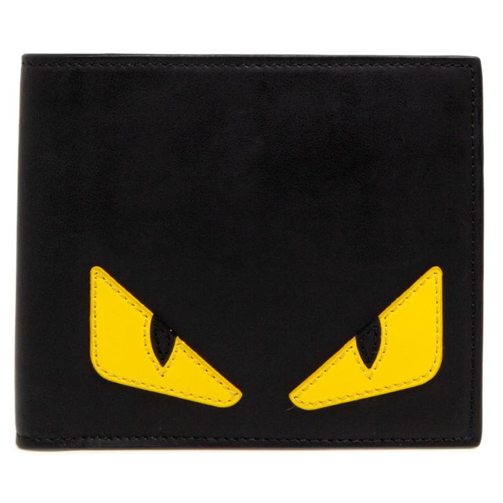 Fendi Black Calfskin Monster Eyes Bifold Wallet