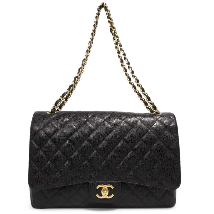 Chanel Black Quilted Caviar Maxi Classic  Double Flap