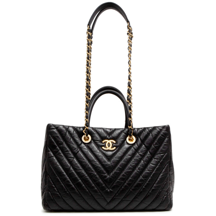 Chanel Black Aged Calfskin Chevron Coco Handle Shopping Tote