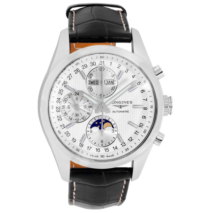 Longines Stainless Steel Conquest Chronograph Moonphase L2.798.4.72.3