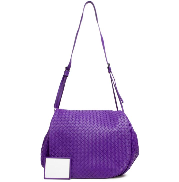 Bottega Veneta Purple Intrecciato Nappa Messenger Bag