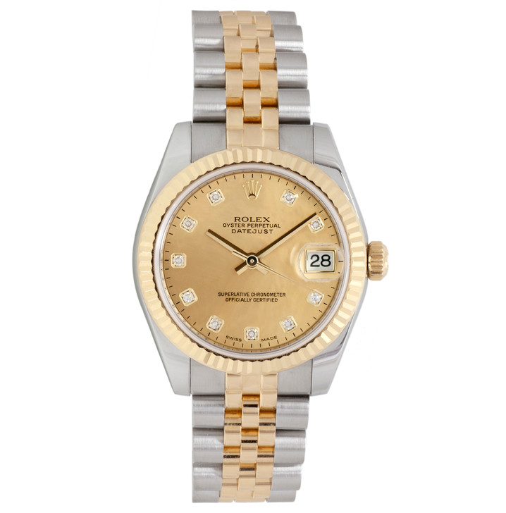 Rolex 18K & Stainless Steel Diamond Mother of Pearl Datejust 31 178273