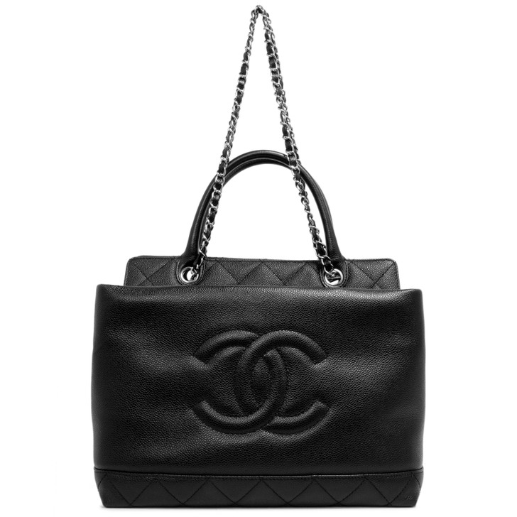 Chanel Black Caviar Timeless CC Top Handle Tote