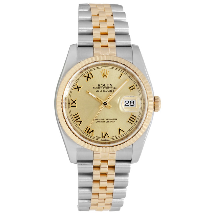 Rolex 18K Yellow Gold & Stainless  Steel Datejust 36 116233