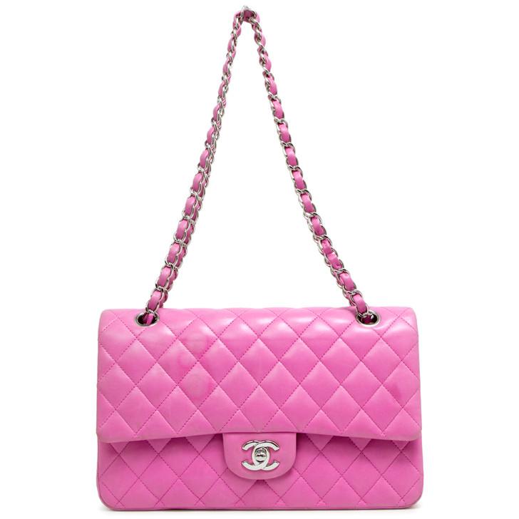 Chanel Pink Lambskin Medium Classic Double Flap