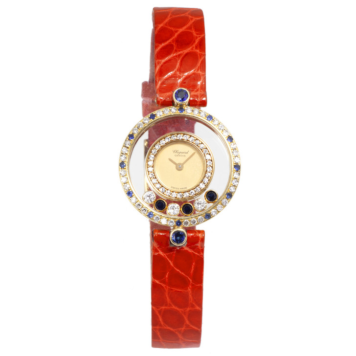 Chopard  18K Yellow Gold, Diamond, Sapphire Vintage Happy Diamond Quartz Watch
