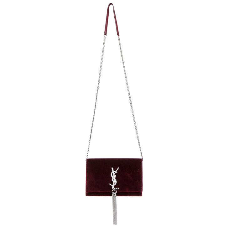 Saint Laurent Burgundy Velvet & Crystal Kate Chain Tassel Wallet