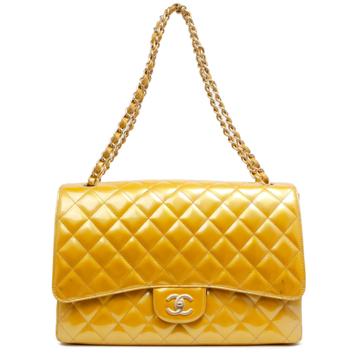 Chanel Gold Quilted Patent Maxi Single Flap