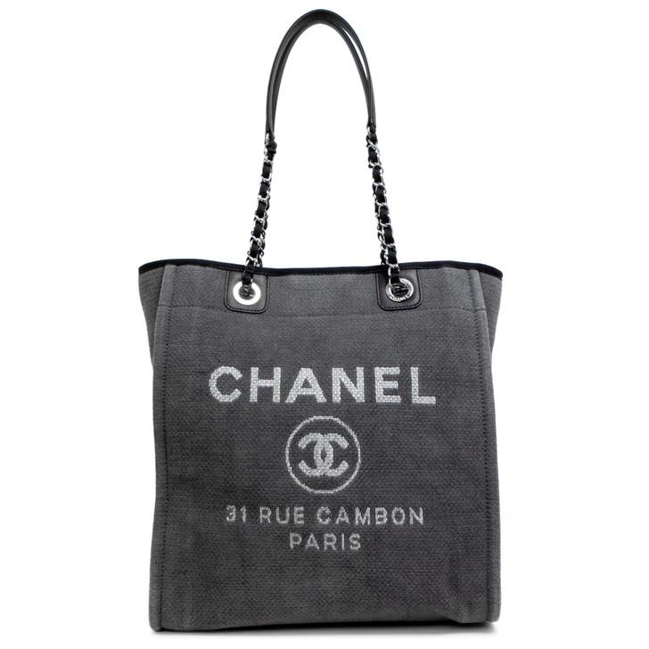Chanel Grey Canvas Small Deauville Tote