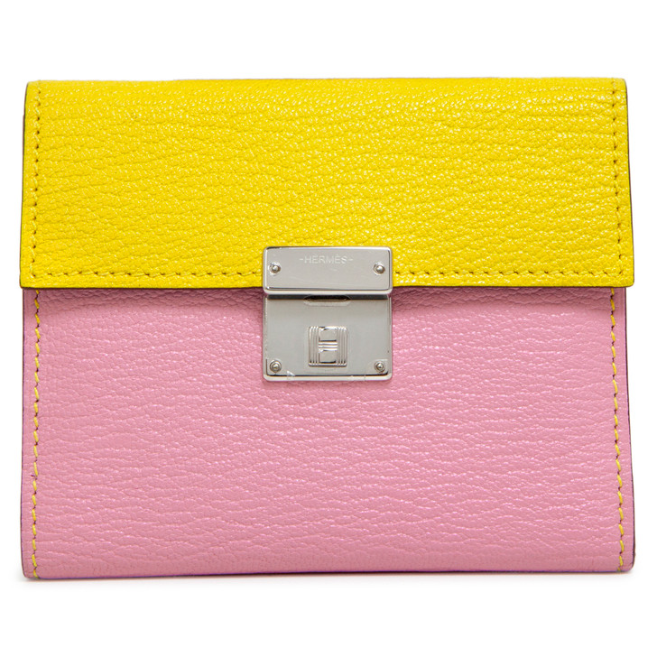 Hermes Mauve Sylvestre/Jaune De Naples Mysore Clic Mini Card Holder