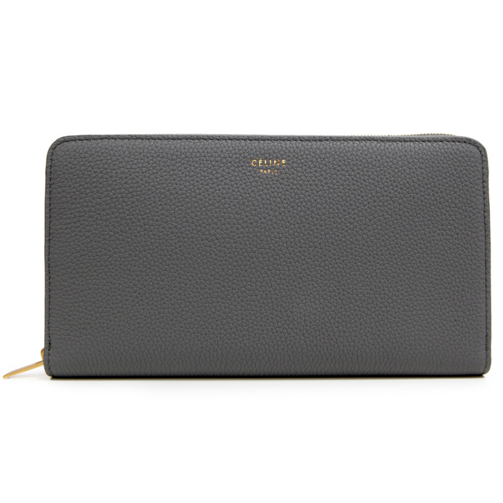 Celine Grey Drummed Calfskin Multifunction Large Zip Around Wallet
