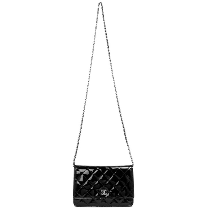 Chanel Black Quilted Patent WOC Wallet on Chain