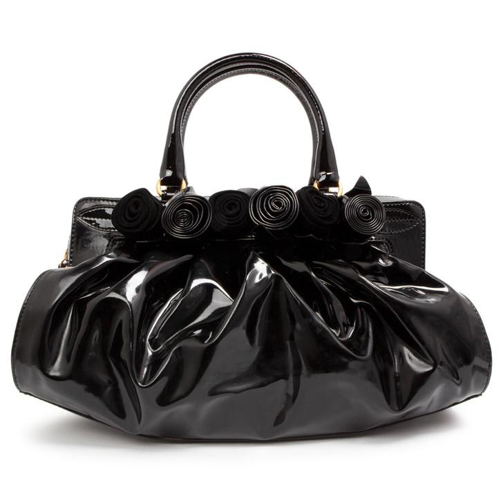 Valentino Black Patent Lacca Fleur Top Handle Bag