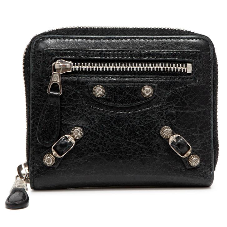Balenciaga Black Lambskin Compact Zip Wallet