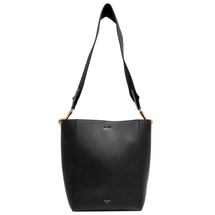 Celine Black Grained Calfskin Sangle Small Bucket Bag