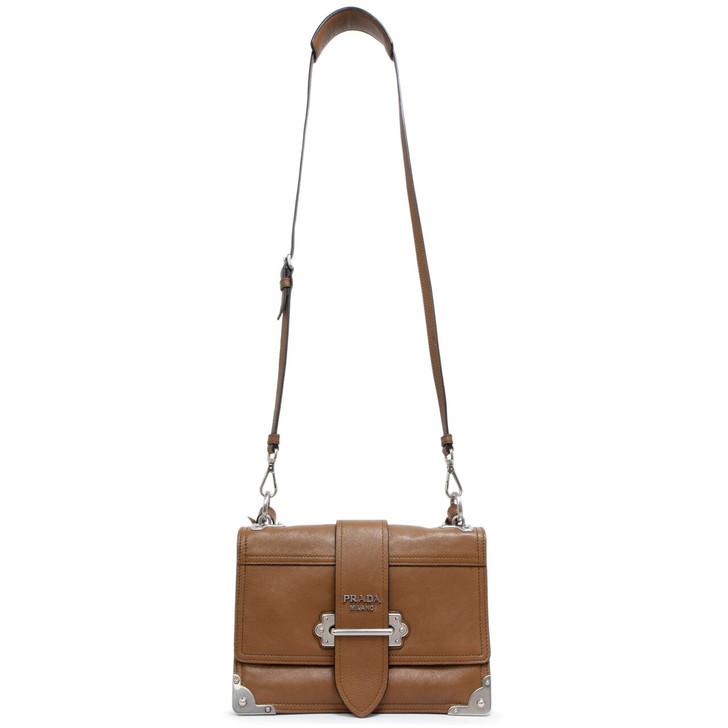 Prada Cannella Glace Calfskin Soft Cahier Bag